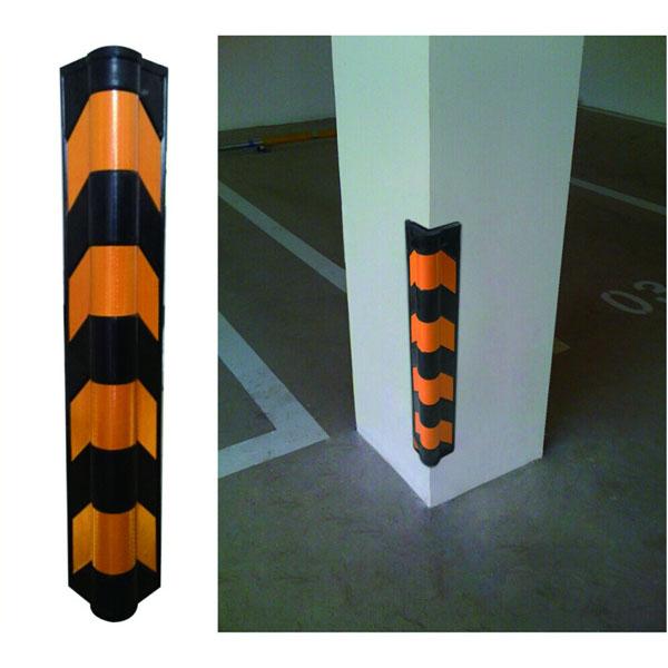 反光墙角保护器(圆角) 优质原生橡胶,黄色反光条纹,含安装配件,高800mm