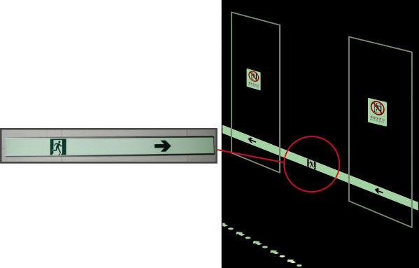 自发光疏散指示条 高性能自发光材料+铝合金边框,95×1m
