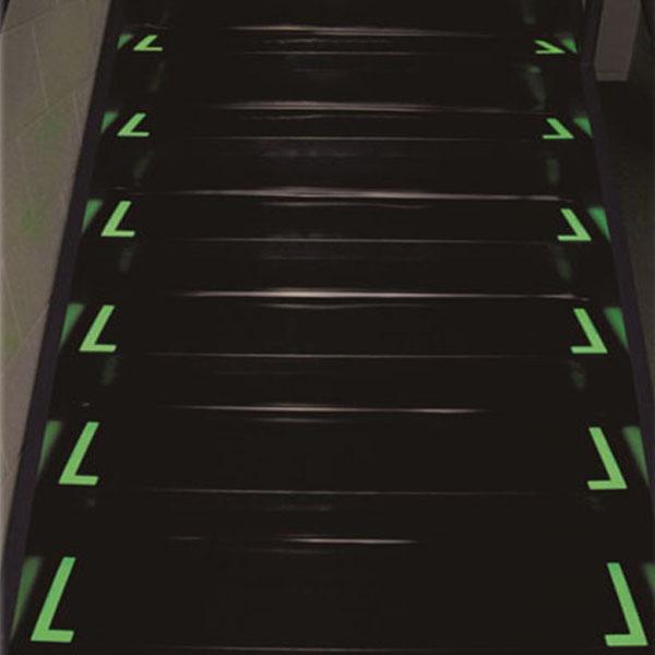 自发光L型楼梯贴 高性能蓄光自发光材料,覆通明保护膜,76×230mm,5对/包