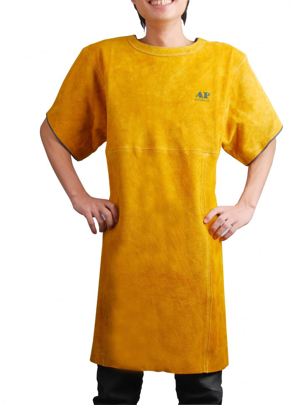 AP-6102友盟金黄色芯皮短袖电焊围裙