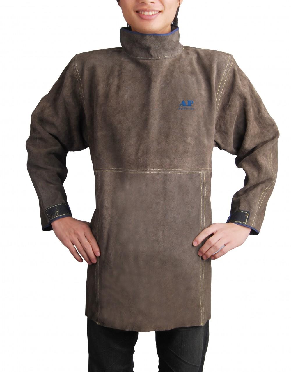 AP-8002友盟炭啡色皮护胸带领长袖围裙