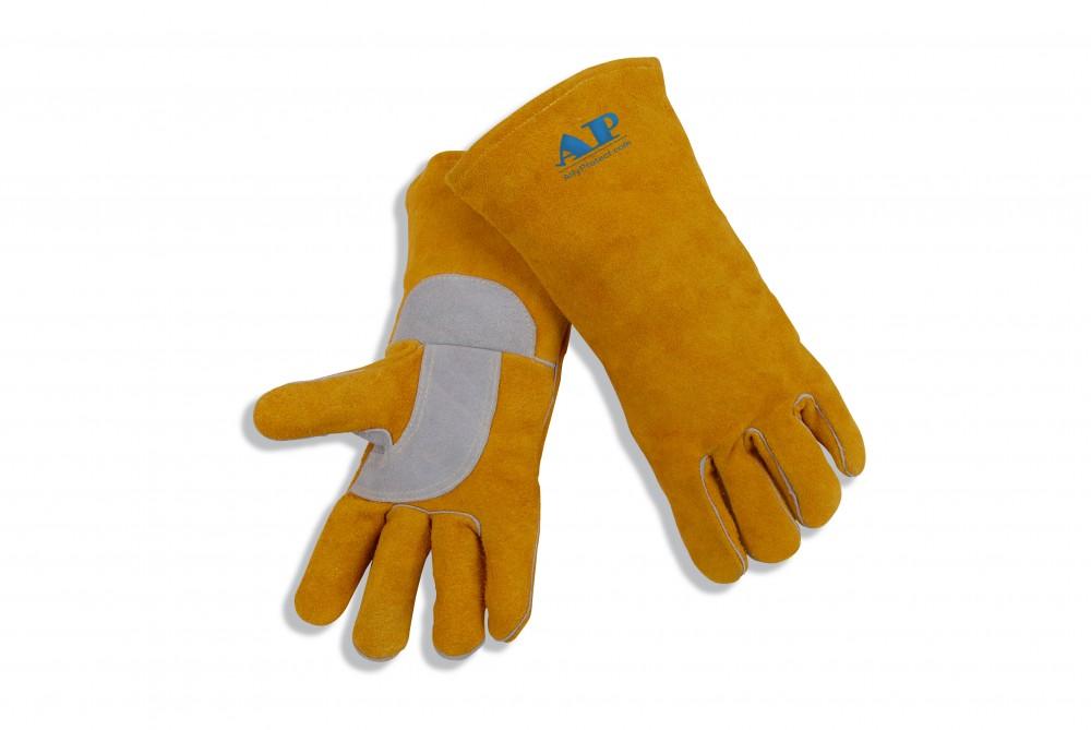 AP-2202友盟金黄色牛皮护掌烧焊手套