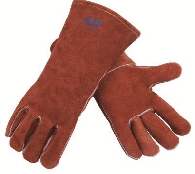 AP-0808友盟咖啡色牛二层皮手套