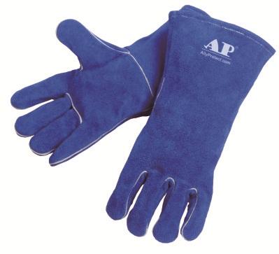 AP-0160友盟彩蓝色牛二层皮烧焊手套