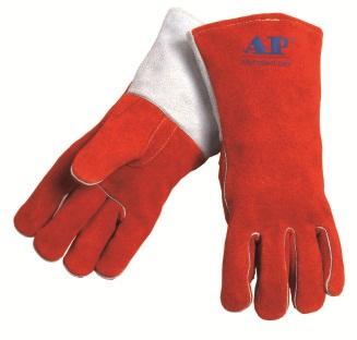 AP-0328友盟锈橙色牛二层皮烧焊手套