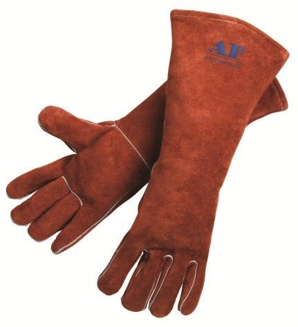 AP-2056友盟咖啡色加长牛二层皮烧焊手套