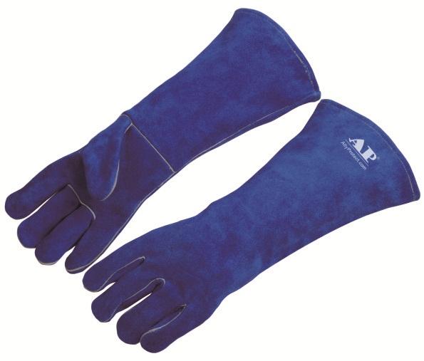 AP-2054友盟彩蓝色加长牛二层皮手套
