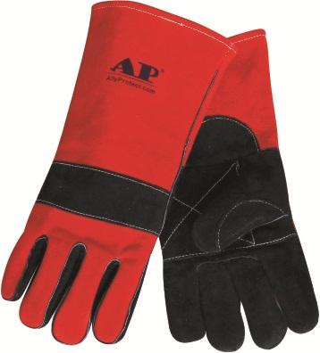 AP-0505友盟黑色配红色牛二层皮高档烧焊手套