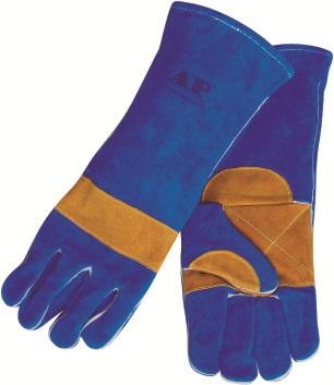 AP-1166友盟彩蓝色加金黄托高档烧焊手套