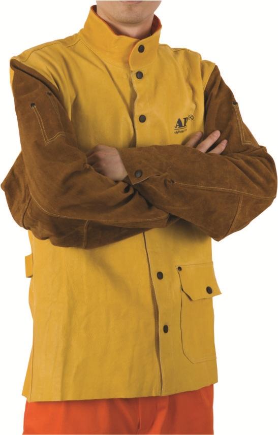 AP-2830友盟高档金黄色牛青皮配金棕色袖焊服