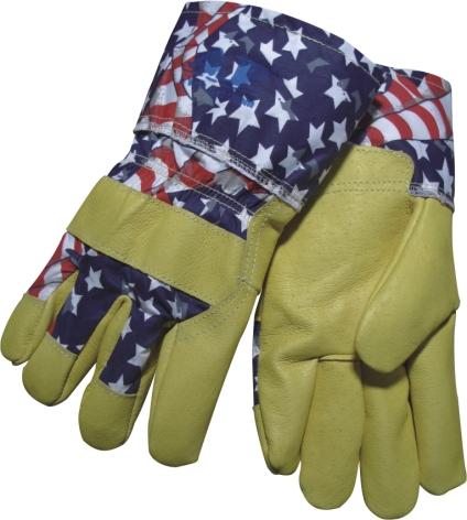 AP-3504友盟高档星旗牛青工作手套