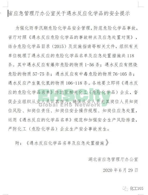 《遇水反应化学品名单及应急处置措施 》 (1)